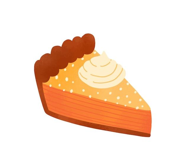 パイピースフラットベクトルイラスト。白で隔離のホイップクリームキャップで飾られたおいしいケーキスライス。おいしいペストリー、伝統的なアメリカンチーズケーキ。焼きたてのデザート、オレンジのタルトのデザイン要素。
