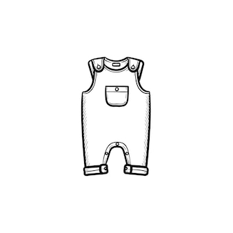 Piece of baby wear hand drawn outline doodle icon. summer overall with a pocket for kid's wear vector sketch illustration for print, web, mobile and infographics isolated on white background.