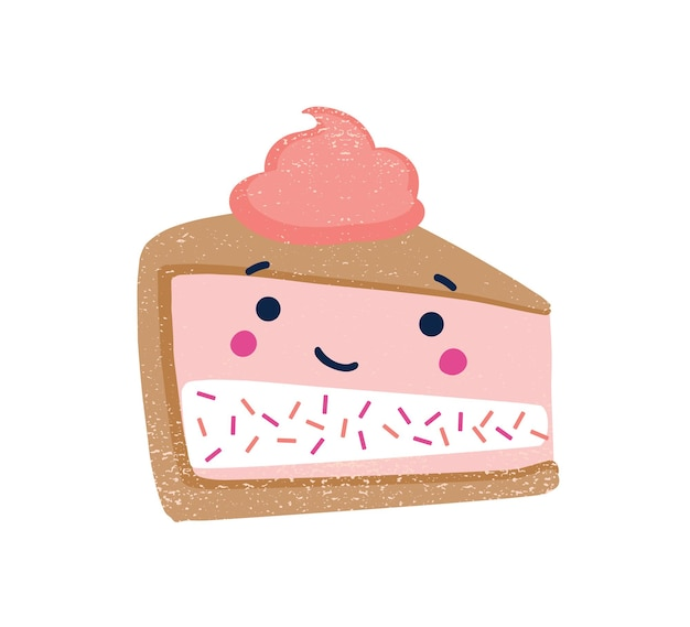 Piece of cake flat vector illustration. cute dessert with funny smiling face and whipped cream on top isolated on white background. delicious dessert, sweet treat. strawberry cheesecake.