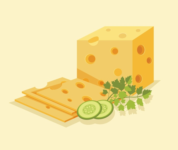 Piece of cheese isolated on yellow