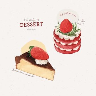 조각 케이크, 바스크 치즈 케이크, 레드 벨벳 케이크.