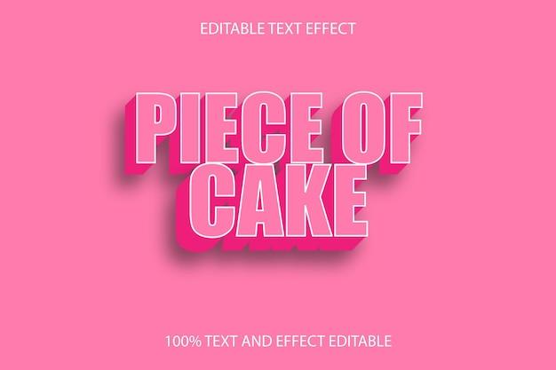 Кусок торта редактируемый текстовый эффект тиснение в винтажном стиле