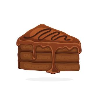 초콜릿 유약 크림과 퐁당 벡터 일러스트와 함께 케이크 조각