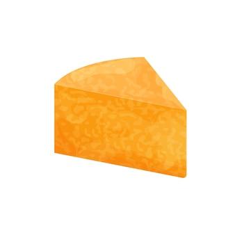 Кусок сыра колби джек подробный яркий, изолированные на белом