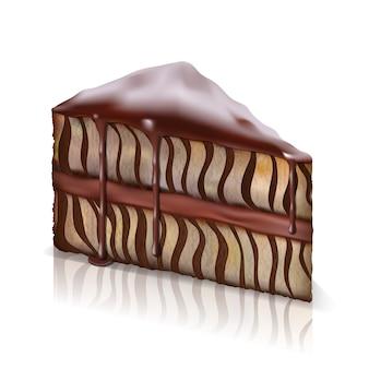 Кусок бисквитного торта со стекающим вниз шоколадом