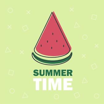 インフォグラフィック、ウェブサイトまたはアプリの緑の背景に分離されたスイカのベクトル線アイコンの一部-夏の時間のテキスト