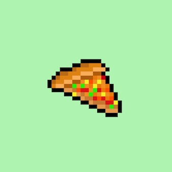 Piece of pizza with pixel art style