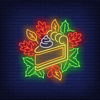 Piece of pumpkin pie in neon style