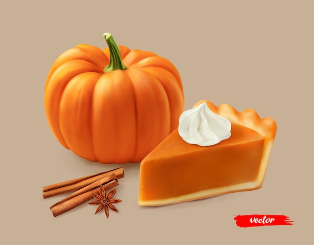 Piece of pumpkin pie with whipped cream and orange pumpkin d realistic vector illustration of pumpki...