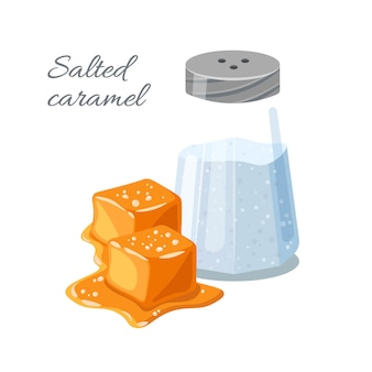 Piece of salted caramel and salt in a shaker isolated on white