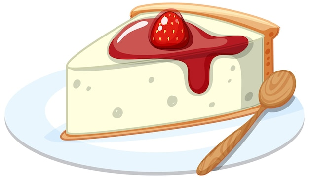 A piece of strawberry cheese cake on a plate with a spoon isolated