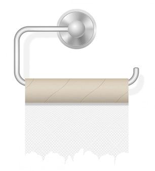 Piece toilet paper on holder vector illustration