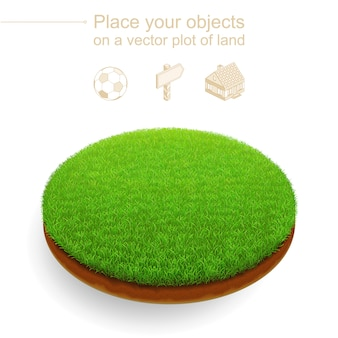 Piece of trimmed lawn. round cut of land with a dense green grass and brown soil. 3d realistic
