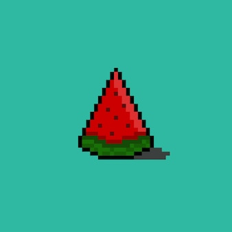 Piece of watermelon with pixel art style
