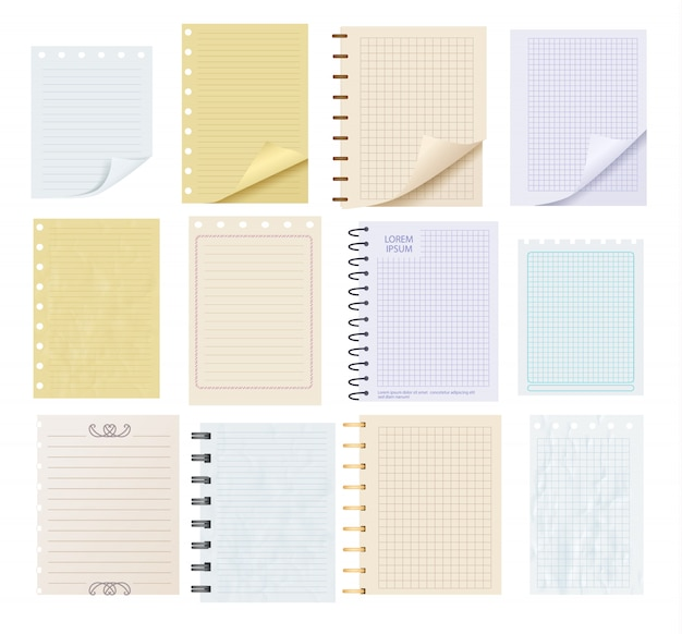 Pieces of colorful blank note paper set
