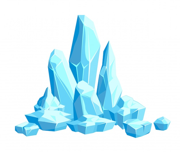 Pieces and crystals of ice, icebergs for design and decor