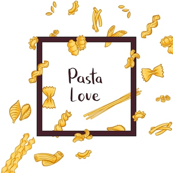 Pieces of different pasta types flying through a frame with place for text
