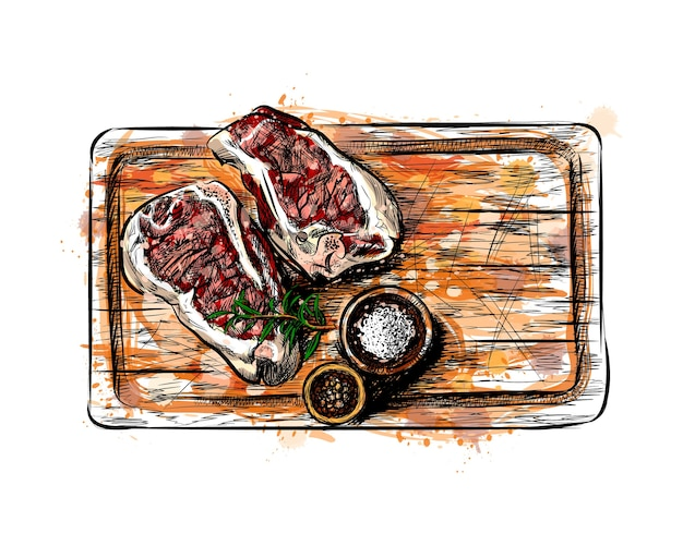 Pieces of meat on a cutting board from a splash of watercolor, hand drawn sketch.  illustration of paints