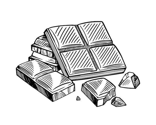 黒と白のチョコレートバーのかけら。ベクトルスケッチ孤立した背景。