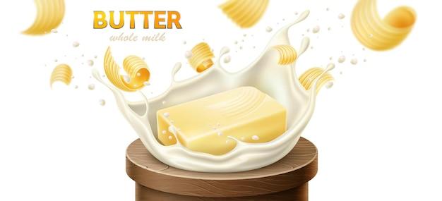 Кусочки сливочного масла, маргарина и молочных продуктов эффект всплеска молока реалистичный вектор