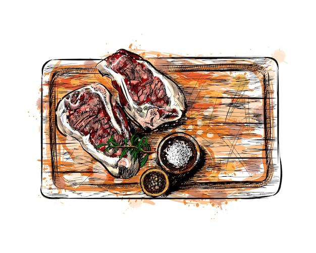 水彩のスプラッシュからまな板の上の肉の部分、手描きのスケッチ。塗料のイラスト