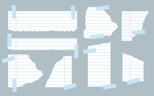 찢어진 흰색 줄 지어 노트북 용지 조각 회색 배경에 스크랩 알림 교육 참고 벡터 일러스트 레이 션에 대 한 닳은 가장자리와 접착 테이프 찢어진 종이 템플릿 다른 모양