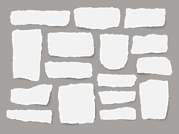 引き裂かれた白いメモ用紙の断片灰色の背景の現実的なベクトル図に分離されたさまざまな形