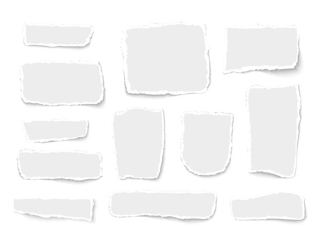破れた白い紙の断片白い背景の現実的なベクトル図に分離されたさまざまな形のコレクション