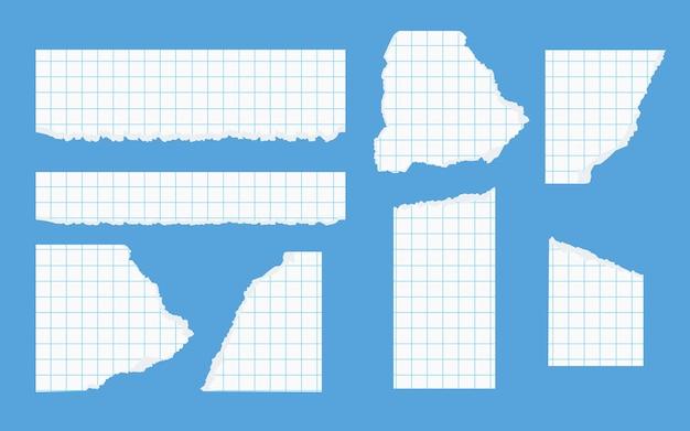 파란색 배경에 메모 스크랩 벡터 일러스트레이션을 위한 닳은 가장자리 체크 무늬 학교 시트가 있는 접착 테이프 찢어진 종이 서식 파일이 있는 찢어진 흰색 사각형 노트북 용지 조각