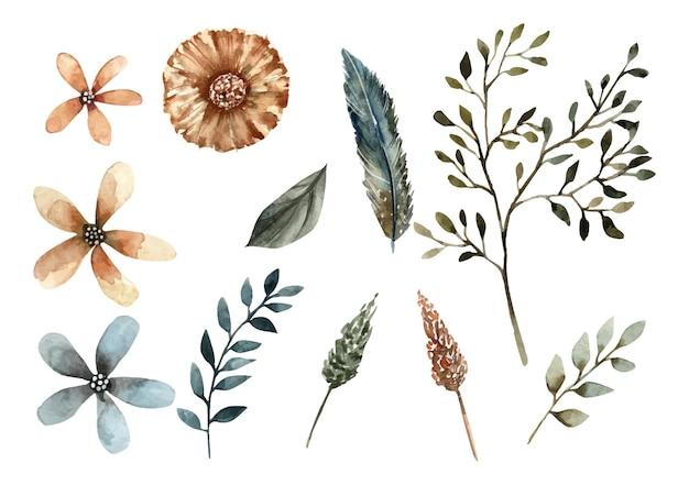 열대 꽃과 나뭇잎 수채화 그림