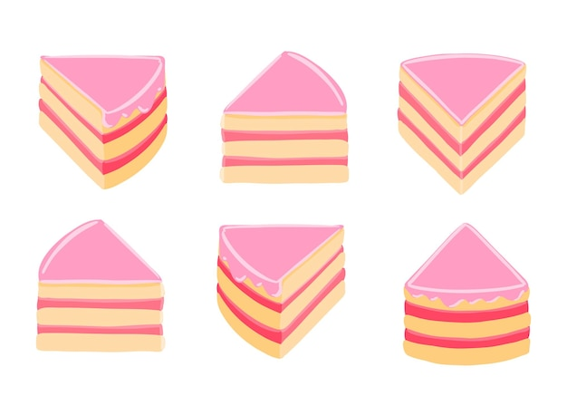 Pieces of pink cake set for infographic.