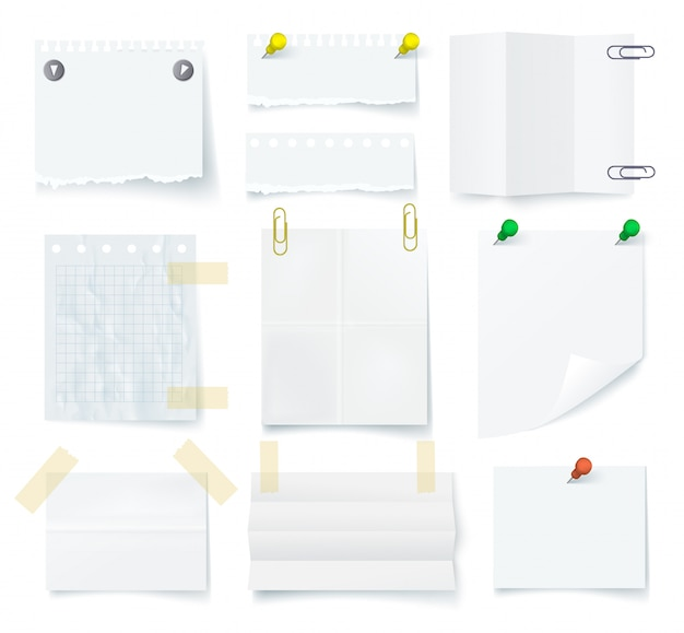 Pieces of torn white blank note paper set