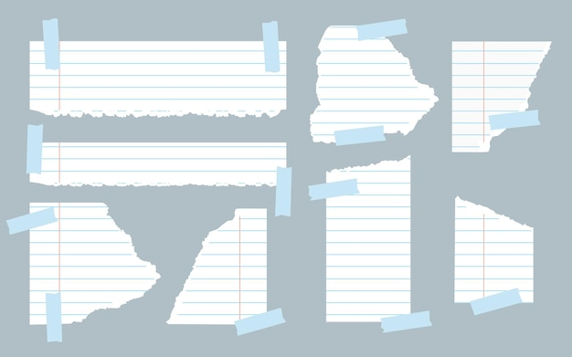 Pieces of torn white lined notebook paper different shapes with adhesive tape ripped paper templates with frayed edge for scraps reminder education note vector illustration on gray background