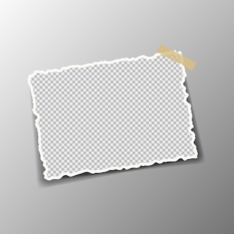 Pieces of torn white paper abstract are pasted on a gray square background.   illustration.
