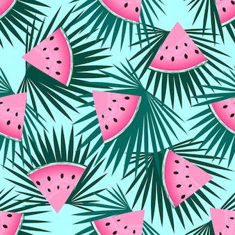 Pieces of watermelon and palm leaves. seamless summer pattern.