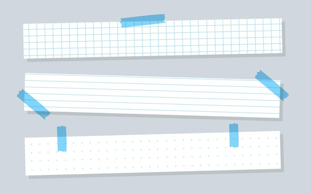 Pieces white paper with blue lined horizontal templates checkered or line sheet copybook sheet with ...
