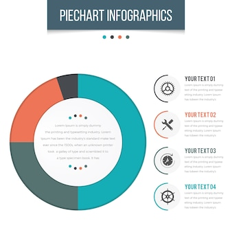 Piechart infographics with 04 steps