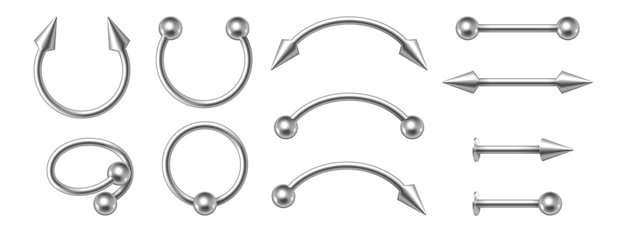 Piercing jewelry. realistic metal nose rings. 3d earrings pierced face body accessories set. silver cones and balls, metallic oops barbells. vector illustration