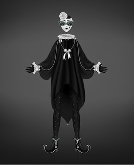 Pierrot costume, italian comedy del arte character isolated on black background.