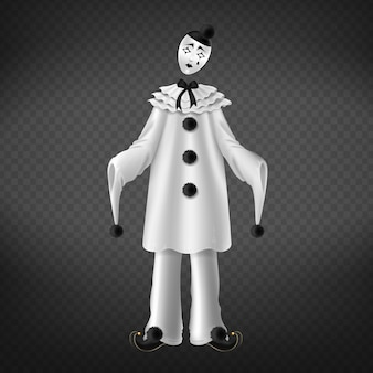 Pierrot isolated on transparent background.
