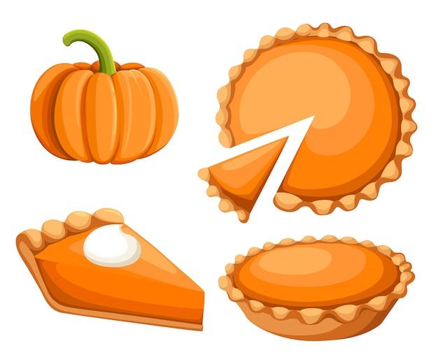 パイイラスト。感謝祭と休日のパンプキンパイ。ハッピー感謝祭の伝統的なカボチャのパイと、トップwebサイトのページとモバイルアプリの要素にホイップクリームを添えたもの。