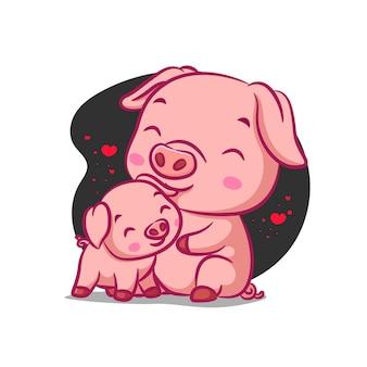 Свинья и поросенок обнимаются друг с другом