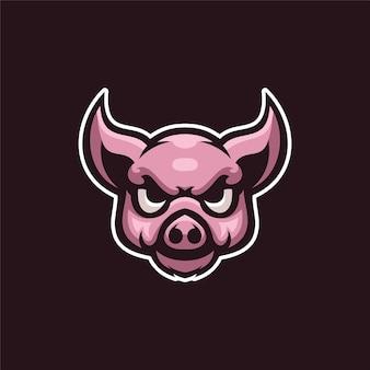 豚の動物の頭の漫画のロゴテンプレートイラストeスポーツロゴゲームプレミアムベクトル