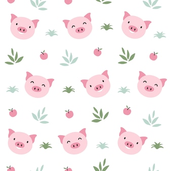 Pig animal seamless pattern