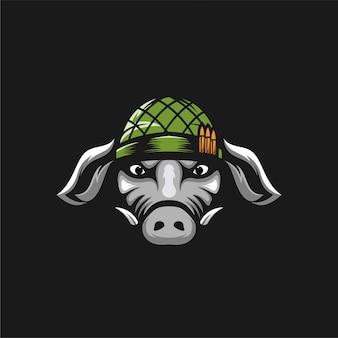 Pig army logo design illustration