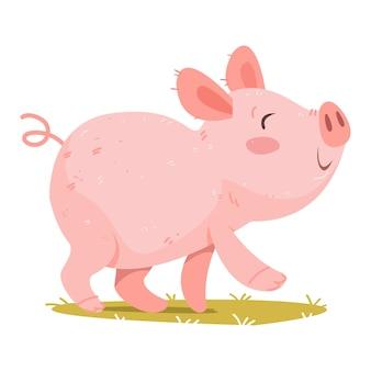 귀여운 돼지 아기 벡터입니다. 만화 스타일의 그림입니다. 흰색 배경 재미에 고립 된 클립 아트