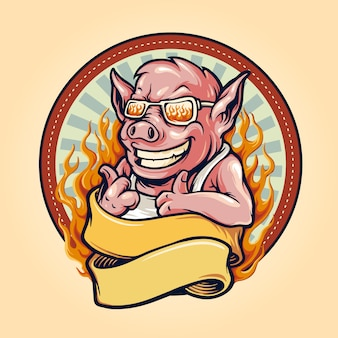Pig barbecue bbq mascot logo with ribbon and fire vintage