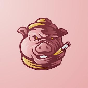 Свинья-босс с сигарой и шляпой