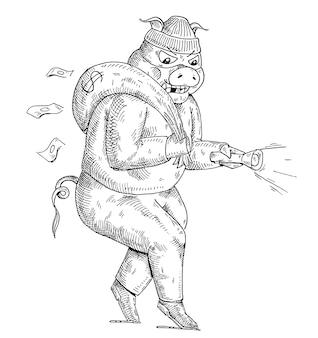 豚泥棒は、バッグを肩に、懐中電灯を手に持って忍び込みます。白い背景で隔離のヴィンテージベクトルモノクロハッチングイラスト。 tシャツの手描きデザイン