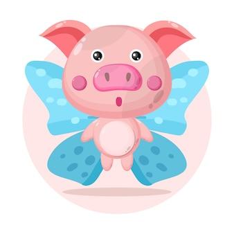 Свинья бабочка милый персонаж